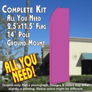 Solid PINK Flutter Feather Banner Flag Kit (Flag, Pole, & Ground Mt)