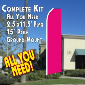 Solid MAGENTA Flutter Feather Banner Flag Kit (Flag, Pole, & Ground Mt)