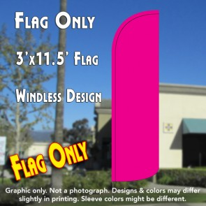Solid Pink (Magenta/Fuschia) Windless Polyknit Feather Flag (3 x 11.5 feet)