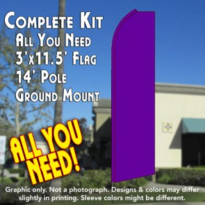Solid PURPLE Flutter Feather Banner Flag Kit (Flag, Pole, & Ground Mt)