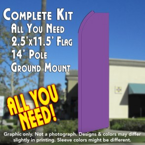 Solid PURPLE Flutter Feather Banner Flag Kit (Flag, Pole, & Ground Mt)