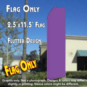 Solid PURPLE Flutter Polyknit Feather Flag (11.5 x 2.5 feet)