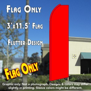 Solid RED Flutter Feather Banner Flag (11.5 x 3 Feet)