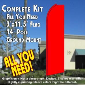 Solid RED Flutter Feather Banner Flag Kit (Flag, Pole, & Ground Mt)
