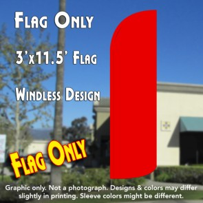 Solid Red Windless Polyknit Feather Flag (3 x 11.5 feet)