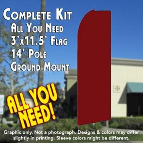 Solid SHIMMERY BURGUNDY Flutter Feather Banner Flag Kit (Flag, Pole, & Ground Mt)
