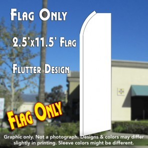 Solid WHITE Flutter Polyknit Feather Flag (11.5 x 2.5 feet)