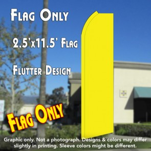 Solid YELLOW Flutter Polyknit Feather Flag (11.5 x 2.5 feet)