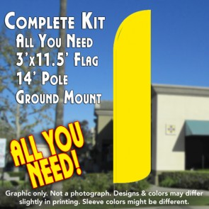 Solid Yellow Windless Feather Banner Flag Kit (Flag, Pole, & Ground Mt)