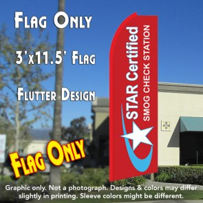 STAR CERTIFIED Smog Check Station Flutter Feather Banner Flag (11.5 x 3 Feet)