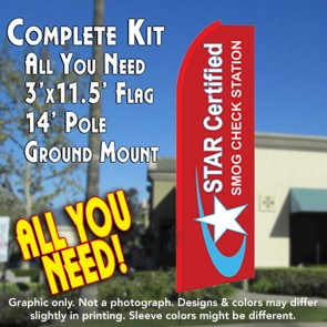 STAR CERTIFIED Smog Check Station Flutter Feather Banner Flag Kit (Flag, Pole, & Ground Mt)