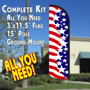 AMERICA'S STAR SPANGLED Windless Feather Banner Flag Kit (Flag, Pole, & Ground Mt)