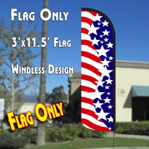 AMERICA'S STAR SPANGLED Windless Polyknit Feather Flag Only (3 x 11.5 feet)