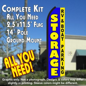 STORAGE RV & Boat Parking (Blue/Yellow) Flutter Feather Banner Flag Kit (Flag, Pole, & Ground Mt)