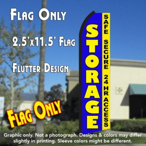 STORAGE Safe Secure 24hr Access (Blue/Yellow) Flutter Polyknit Feather Flag (11.5 x 2.5 feet)