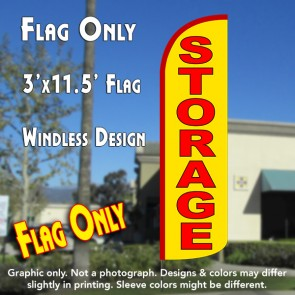 Storage (Yellow/Red) Windless Polyknit Feather Flag (3 x 11.5 feet)
