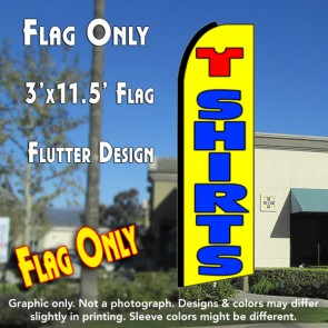 T SHIRTS (Yellow) Flutter Feather Banner Flag (11.5 x 3 Feet)