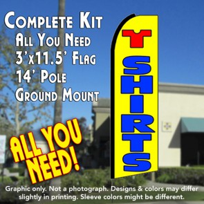 T SHIRTS (Yellow) Flutter Feather Banner Flag Kit (Flag, Pole, & Ground Mt)