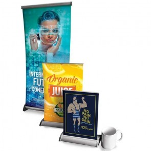 "Tabletop Retractable Banner Stand With 15.75"" X 32"" 10mil Premium Vinyl Indoor Banner"