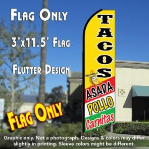 TACOS ASADA, POLLO, CARNITAS (Yellow) Flutter Feather Banner Flag (11.5 x 3 Feet)