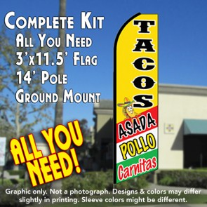 TACOS ASADA, POLLO, CARNITAS (Yellow) Flutter Feather Banner Flag Kit (Flag, Pole, & Ground Mt)