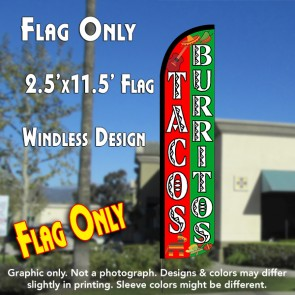 TACOS BURRITOS (Red/Green) Windless Polyknit Feather Flag (2.5 x 11.5 feet)