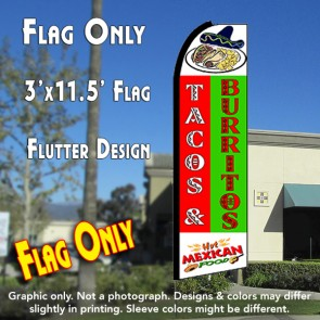 TACOS & BURRITOS (Green/Red) Flutter Polyknit Feather Flag (11.5 x 2.5 feet)