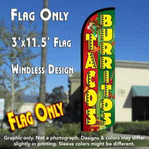 Tacos & Burritos (Red/Green) Windless Polyknit Feather Flag (3 x 11.5 feet)
