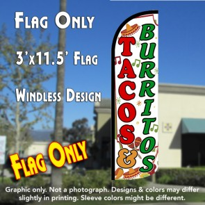 Tacos & Burritos (White) Windless Polyknit Feather Flag (3 x 11.5 feet)