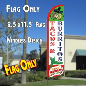 TACOS & BURRITOS Windless Polyknit Feather Flag (2.5 x 11.5 feet)