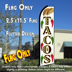 TACOS (White/Yellow) Flutter Polyknit Feather Flag (11.5 x 2.5 feet)