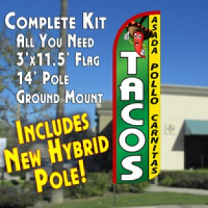 TACOS  Feather Banner Flag Kit (Flag, Pole, & Ground Mt)