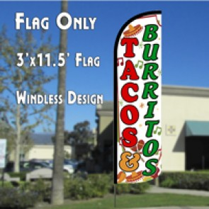 Tacos & Burritos (Green)  Feather Banner Flag
