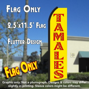 TAMALES (Yellow/Red) Flutter Polyknit Feather Flag (11.5 x 2.5 feet)