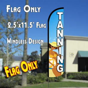 TANNING (Blue/White) Windless Polyknit Feather Flag (2.5 x 11.5 feet)