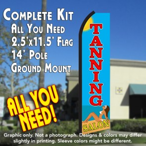 TANNING SALON (Sun) Flutter Feather Banner Flag Kit (Flag, Pole, & Ground Mt)