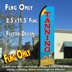 TANNING SALON (Blue/Red) Flutter Polyknit Feather Flag (11.5 x 2.5 feet)