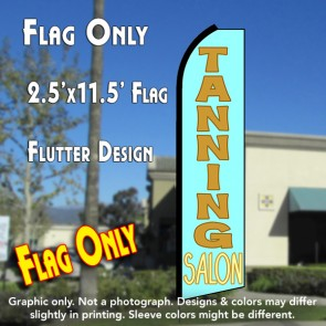 TANNING SALON (Cyan/Gold) Flutter Polyknit Feather Flag (11.5 x 2.5 feet)