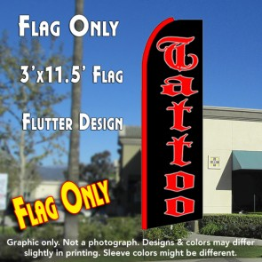 TATTOO (Black) Flutter Feather Banner Flag (11.5 x 3 Feet)