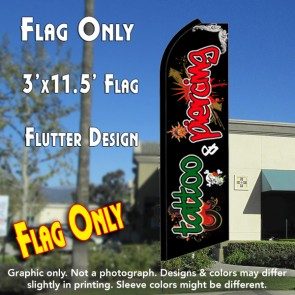 TATTOO/PIERCING (Red/Green) Flutter Feather Banner Flag (11.5 x 3 Feet)