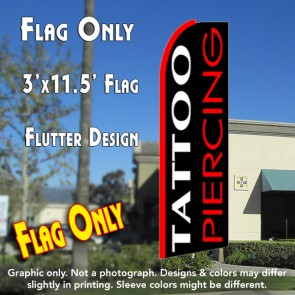 TATTOO/PIERCING (White/Red) Flutter Feather Banner Flag (11.5 x 3 Feet)