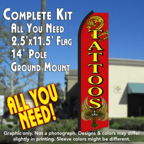 tattoos feather banner flag kit