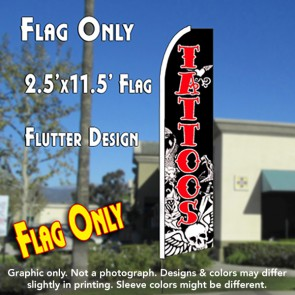 skull tattoos flutter feather banner flag