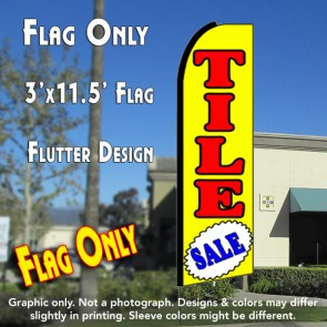 TILE SALE (Yellow) Flutter Feather Banner Flag (11.5 x 3 Feet)
