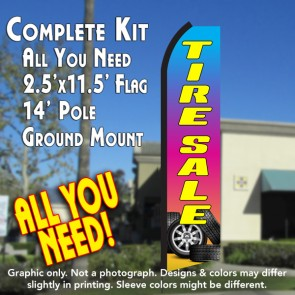 TIRE SALE (Gradient) Flutter Feather Banner Flag Kit (Flag, Pole, & Ground Mt)