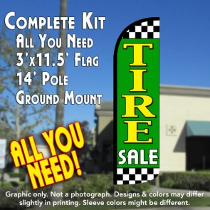 Tire Sale (Lime/Checkered) Windless Feather Banner Flag Kit (Flag, Pole, & Ground Mt)