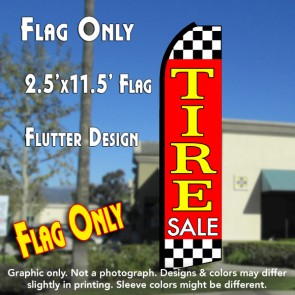 TIRE SALE (Red/Checkered) Flutter Polyknit Feather Flag (11.5 x 2.5 feet)