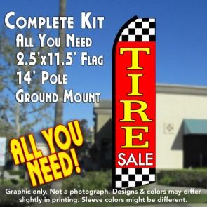 TIRE SALE (Red/Checkered) Flutter Feather Banner Flag Kit (Flag, Pole, & Ground Mt)