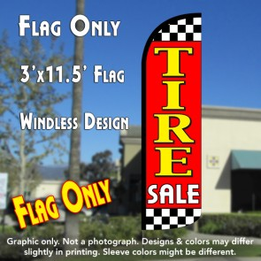 Tire Sale (Red/Checkered) Windless Polyknit Feather Flag (3 x 11.5 feet)