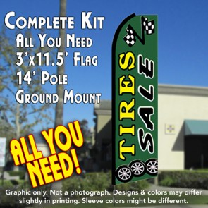 TIRES SALE (Green) Flutter Feather Banner Flag Kit (Flag, Pole, & Ground Mt)